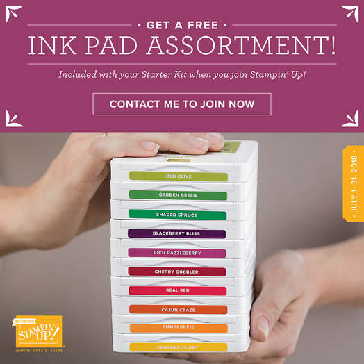 Join my Growing & Dynamic Team of Stamping Bees during the Month of July, and you'll receive a FREE Ink Pad Assortment of YOUR CHOICE. That's a $67 savings (plus Free Shipping!)
