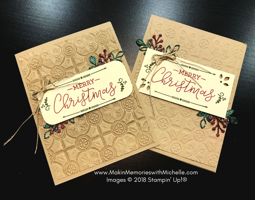 www.MakingMemorieswithMichelle.com Both cards feature the Tin Tile Dynamic Textured Impressions Embossing Folder. The card on the left had the folder inked before the cardstock was inserted, leaving a dynamic shadow effect and enhancing the image. #CASEingTuesday171 Images © 2018 Stampin' Up!®