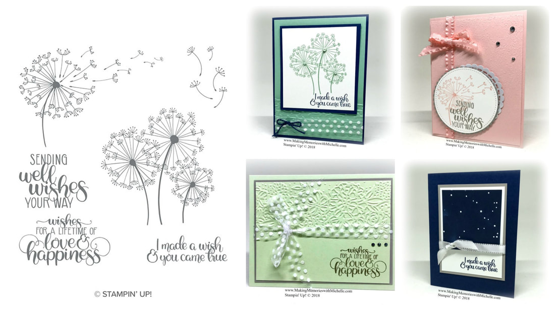August's Card Club kits include: The Dandelion Wishes Stamp Set, plus all the cardstock, embellishments, and envelopes you need to create 8 cards (2 each of 4 designs), all for just $27! (To Go options are $35, and includes priority shipping). www.MakingMemorieswithMichelle.com Stampin' Up! © 2018