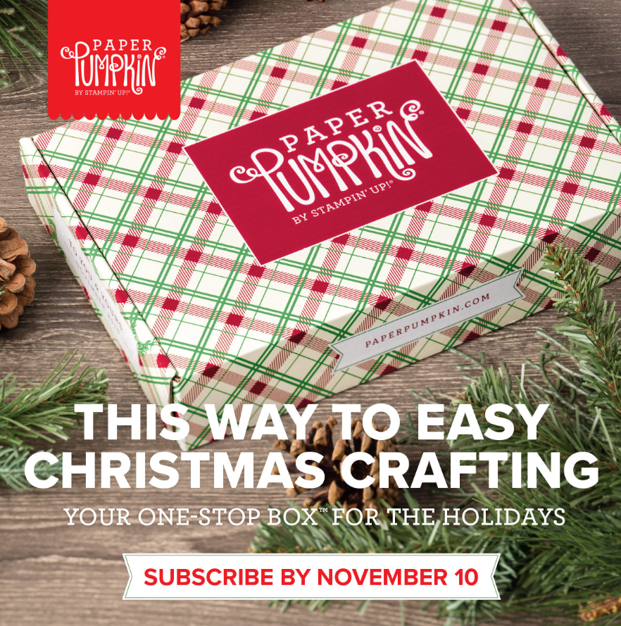 www.MakingMemorieswithMichelle.com Holiday Paper Pumpkin kits come in pretty packages. Subscribe by 11/10 to receive your November paper crafting kit. Steampin' Up! © 2018