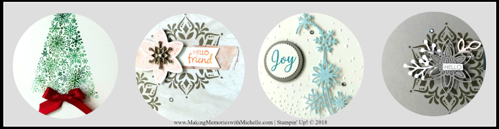 www.MakingMemorieswithMichelle.com Snow is Glistening and Happiness Surrounds Stamp Sets are featured at this month's Sweet & Simple Class. November 4th at 2 pm. In Person or To Go! Register by 11/1. Stampin' Up! © 2018