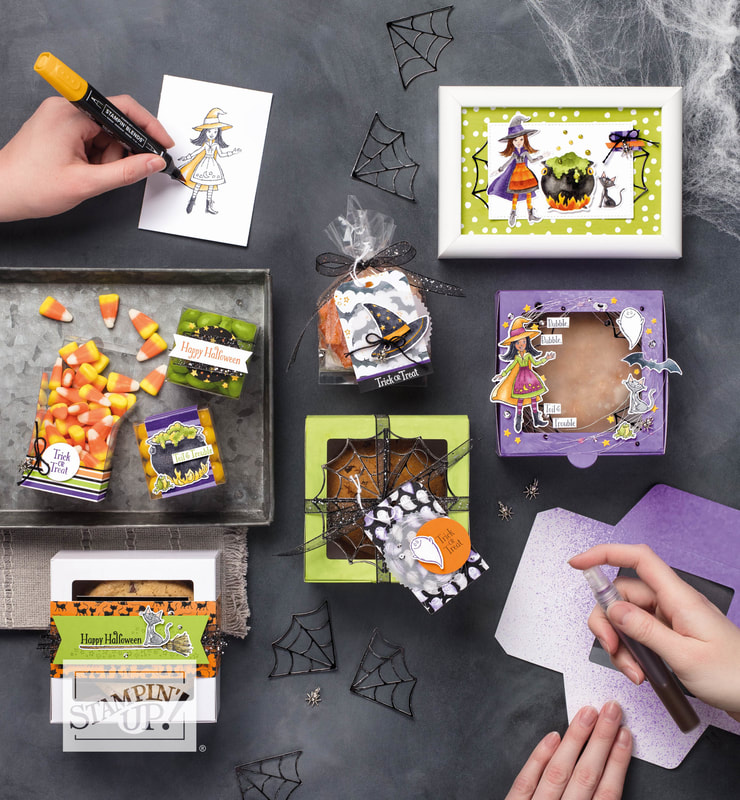 www.MakingMemorieswithMichelle.com.  Learn how to making a spooky gift card holder with the Toil and Trouble Suite.  A full video tutorial is on my blog.  www.MakingMemorieswithMichelle.com  Stampin' Up! © 2018