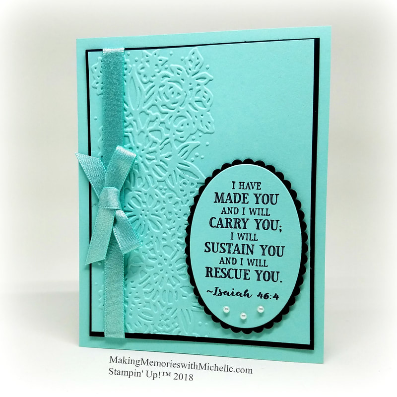 Hold on to Hope. A sympathy card in Pool Party, using the Petal Pair Embossing Folders.