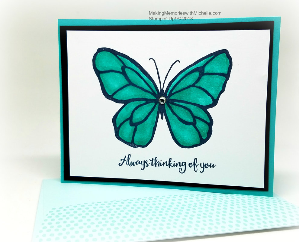 Beautiful Day with Bermuda Bay Blends and a matching Tutti Frutti Sale-a-Bration envelope. Making Memories with Michelle. Stampin' Up! © 2018