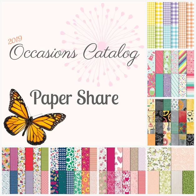 """www.MakingMemorieswithMichelle.com New 2019 Occasions Catalog Paper Share Includes: 82 Pieces of 6"""" × 6"""" Designer Series Paper (DSP)from each of the 7 new packs of designer paper from the 2019 Stampin' UP! Occasions Catalog + Coordinating Card Bases"""
