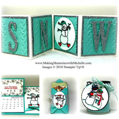 www.MakingMemorieswithMichelle.com December's Making Memories VIP members will receive this 4-project tutorial free, with any $25 purchase. www.MichelleIrinyi.StampinUp.net
