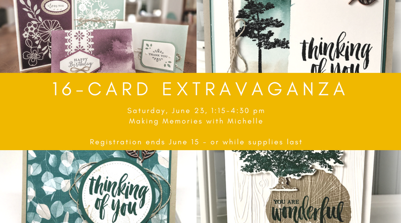 Registration ends 6/15 for the 16-Card extravaganza. In person or To Go! Email me to register. Michelle@MakingMemorieswithMichelle.com Stampin' Up! © 2018