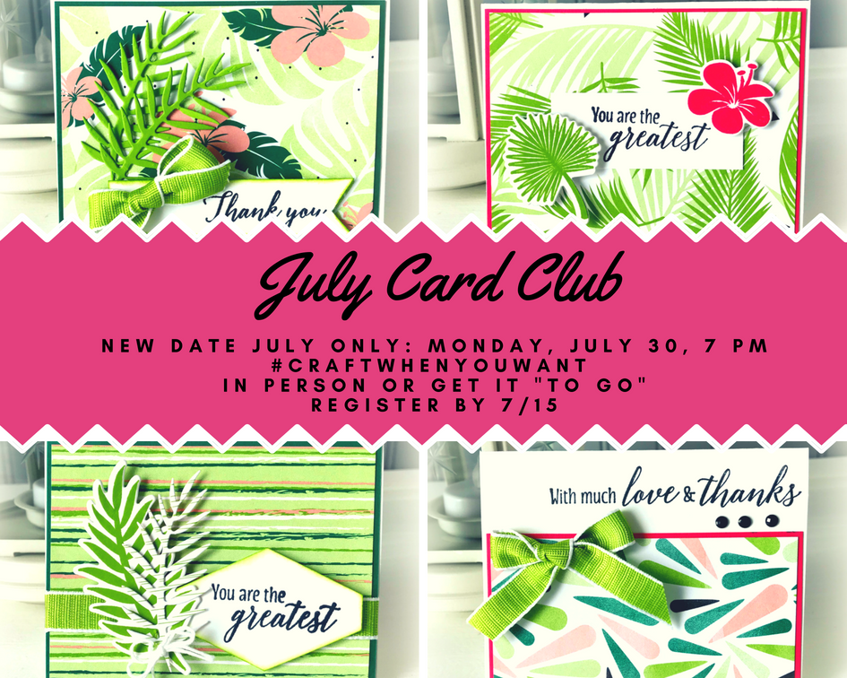 July's Card Club kits include: a full pack (10) of Whisper White Small Memories & More Cards & Envelopes; a full spool of Granny Apple Green 1/2