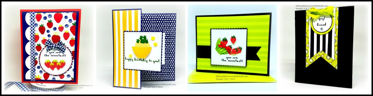The Tutti Fruitti paper and Fruit Basket bundle will be featured at my April 8th Sweet & Simple Class. Attend in person, or have your kit delivered right to your door! Making Memories with Michelle. Stampin' Up! © 2018