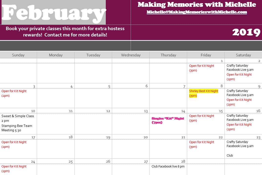 www.MakingMemorieswithMichelle.com February Stamping Events