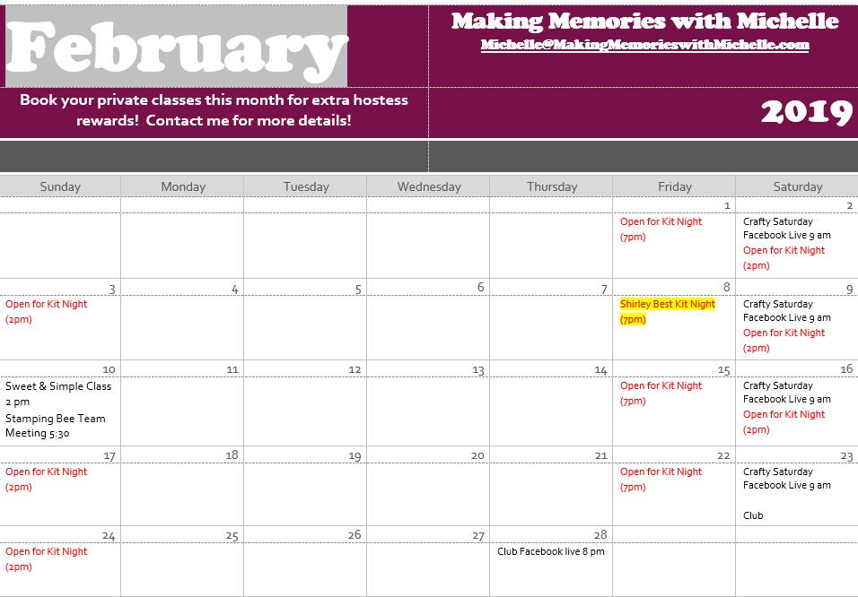 www.MakingMemorieswithMIchelle.com February Calendar