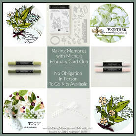 www.MakingMemorieswithMichelle.com February Wonderful Romance Card Club. Register by 2/15 to attend in person or Get your Kit To Go