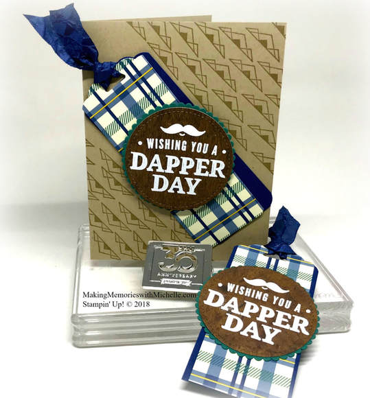 Truly Tailored Card and Matching Gift tag for the most discerning gentleman on your list. Making Memories with Michelle. Stampin' Up! © 2018