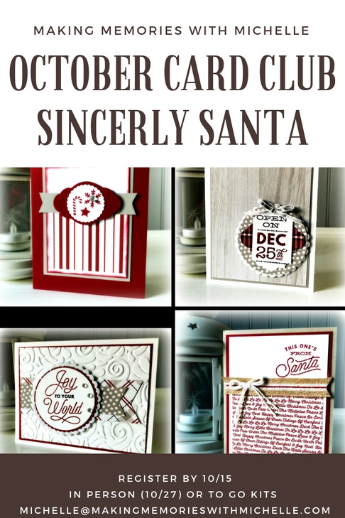 October Card Club. Sincerely Santa 8 cards, 2 each of 4 designs. Includes a full pack of Frosted & Clear Epoxy Droplets; a full spool of 5/8