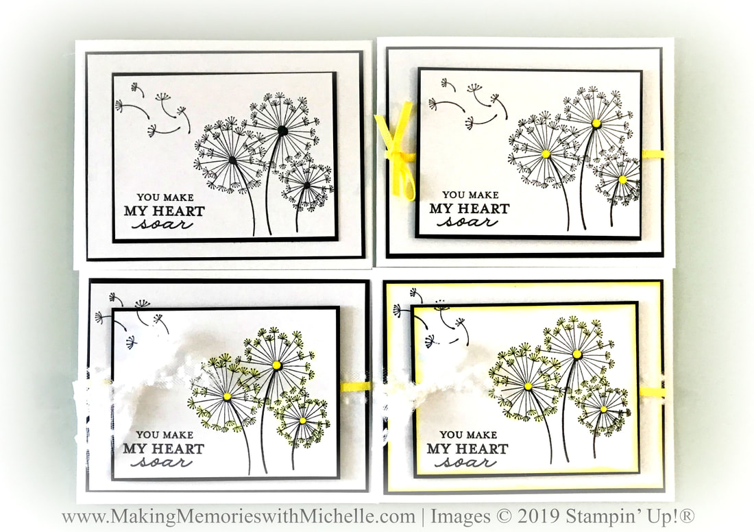 www.MakingMemorieswithMichelle.com #CraftySaturday Stepped Up Stamping with Dandelion Wishes. #SimpleStamping