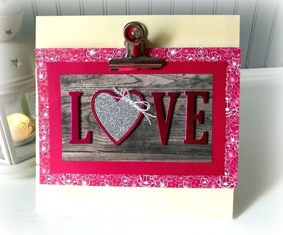 www.MakingMemorieswithMichelle.com A little Valentine's Home decor using the Be Mine Stitched & Large Letter Framelits. #CraftySaturday #FacebookLive #videotutorial