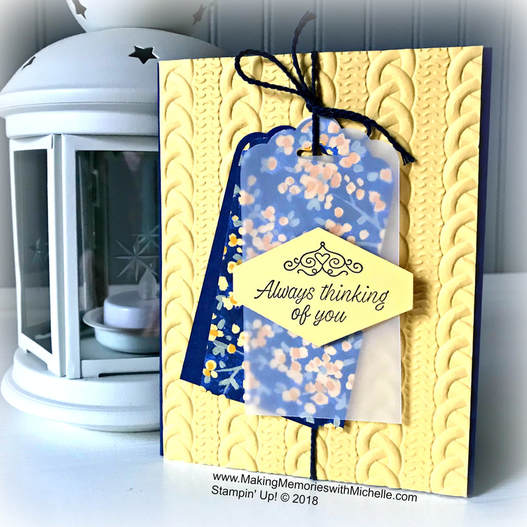 Making Memories with Michelle Tip of the WeeK: Use Designer Series Paper to as an accent piece. www.MakingMemorieswithMichelle.com Stampin' Up! © 2018