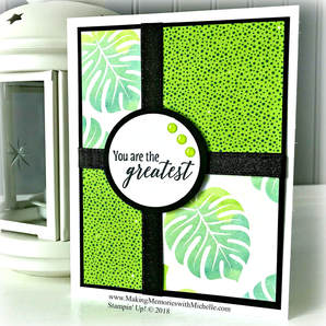 The Tropical Escapes Designer Series Paper Stack is Buy 3/Get 1 Free through July 31, 2018. www.MakingMemorieswithMichelle.com Stampin' Up! © 2018