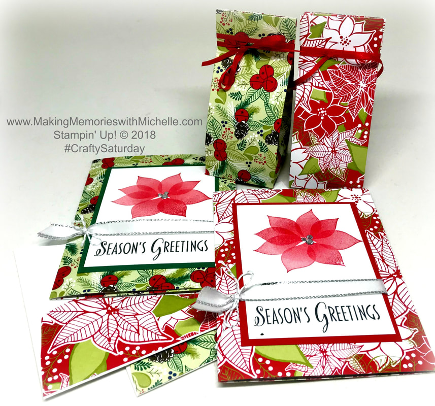 #CraftySaturday: Christmas in July. A #OneSheetWonder gift set with a 3-panel cards, gift bag, and envelope all from just 1 sheet of the Under the Mistletoe Designer Series Paper and Stylish Christmas Stamp Set. www.MakingMemorieswithMichelle.com Stampin' Up! © 2018
