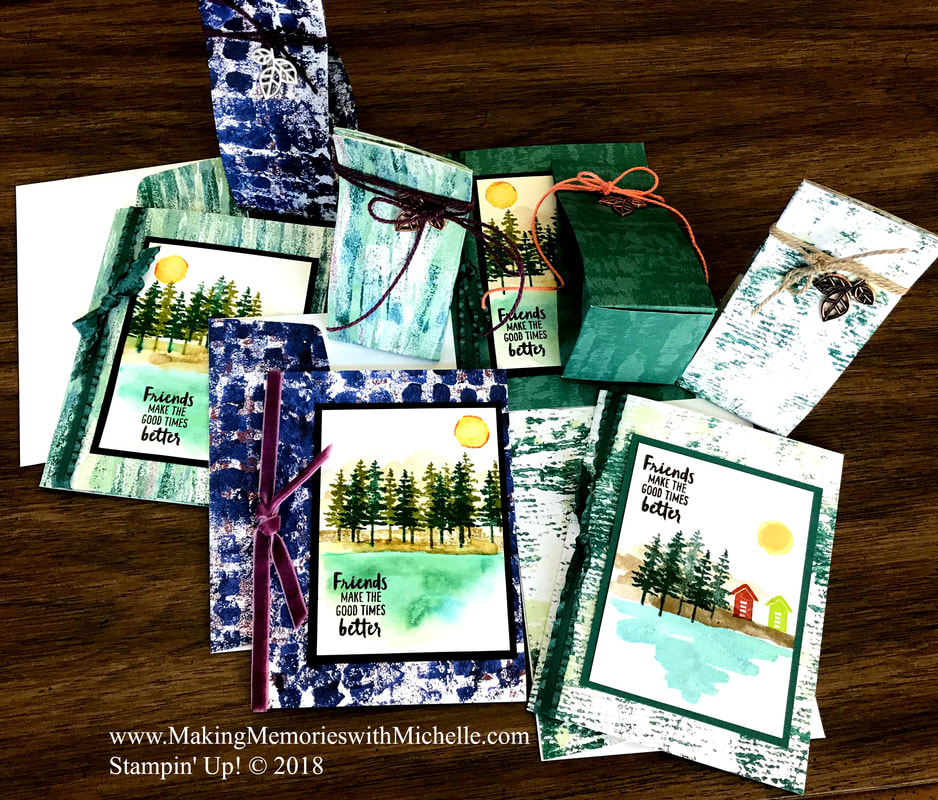 Today, I paired Tranquil Textures Designer Series Paper and the Waterfront Stamp Set for July's Creative Inking Blog Hop. www.MakingMemorieswithMichelle.com Stampin' Up! © 2018