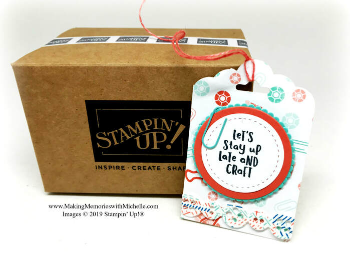 www.MakingMemorieswithMichelle.com The Follow Your Art suite is full of fun little details, like this Mini Shipping Box and Stampin' Up! Logo Washi Tape, and will make it's debut on June 3. #Onstage2019 #CharlotteOnstage2019 #FollowYourArt #MiniShippingBoxes #StampinUp #Crafts #Crafty #PaperCrafts #Stamping #WashiTape #CardMaking #HandmadeCard #Tags #MakingMemorieswithMichelle