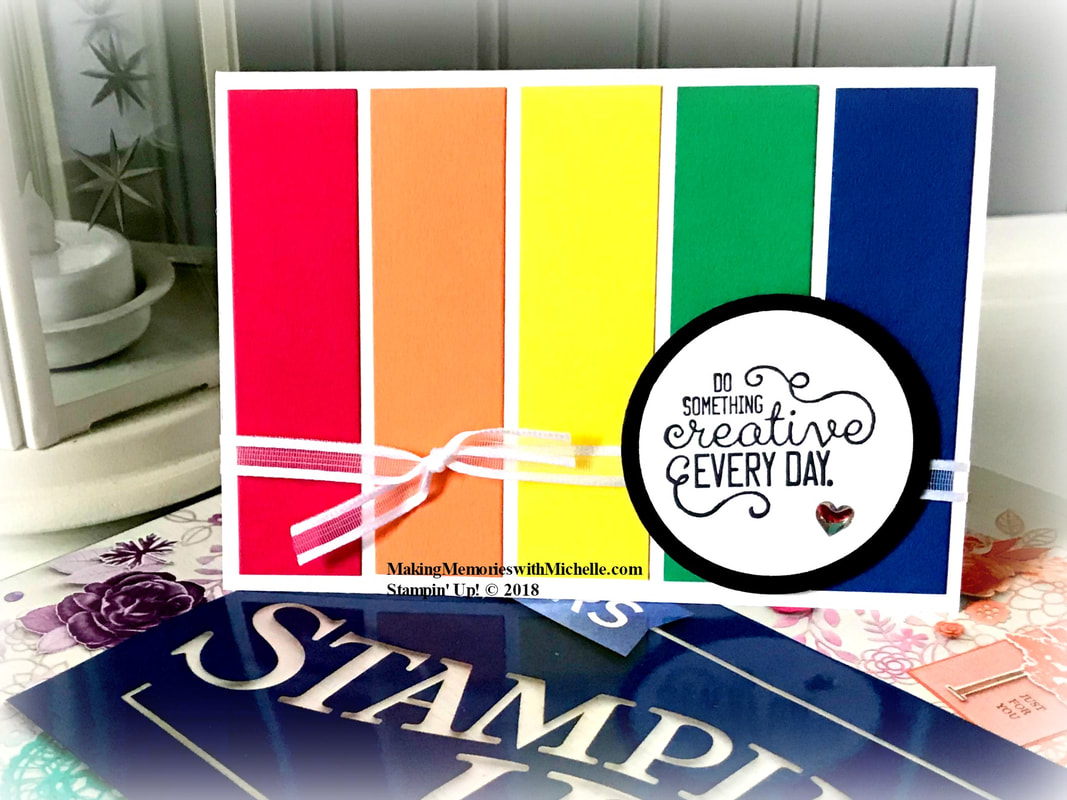 New! 2018-2020 Stampin' Up! in Colors. From left to right: Lovely Lipstick; Grapefruit Grove; Pineapple Punch; Call me Clover; Blueberry Bushel. Making Memories with Michelle. Stampin' Up! © 2018