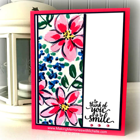 A Sweet & Simple card using Garden Impressions Designer Series Paper and Eastern Beauty. www.MakingMemorieswithMichelle.com Stampin' Up! © 2018