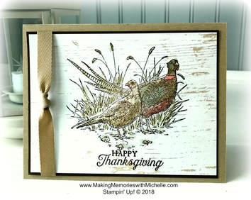 www.MakingMemorieswithMichelle.com Pleasant Pheasants and Wink of Stella on Wood Textures Designer Series Paper.