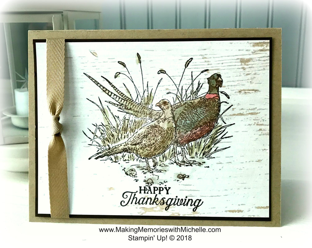 www.MakingMemorieswithMichelle.com Pleasant Pheasants and Wink of Stella on Wood Textures Designer Series Paper. Picture