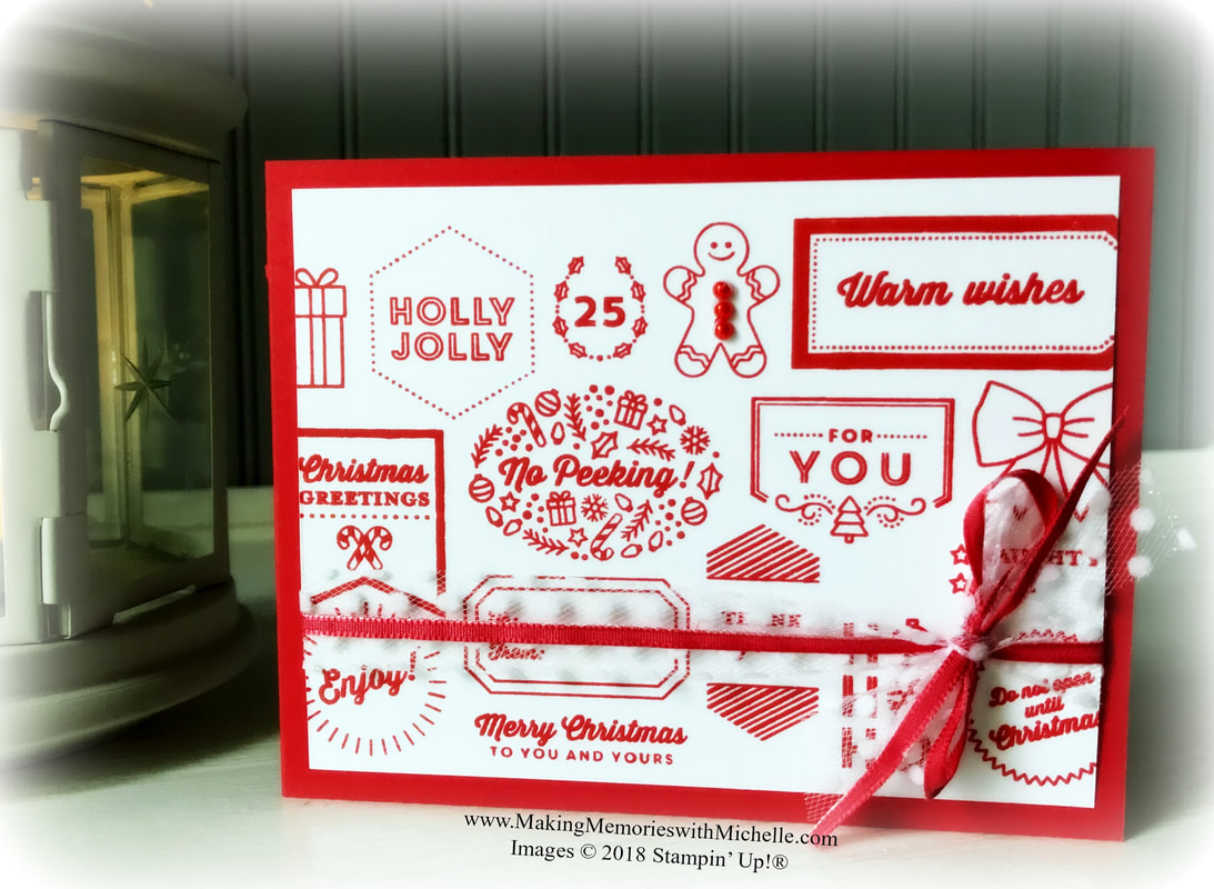 www.MakingMemorieswithMichelle.com Tags & Tidings Bundle in Poppy Parade. #SimpleStamping
