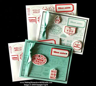 www.MakingMemorieswithMichelle.com Tags & Tidings with a Poppy Parade splash of color. #SimpleStamping