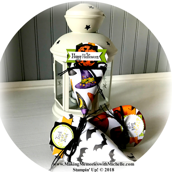www.MakingMemorieswithMichelle.com  Petite Treat Framelits & the Toil & Trouble Suite make perfect Halloween Treats!  Stampin' Up! © 2018