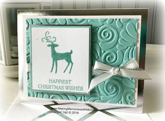 www.MakingMemorieswithMichelle.com Dashing Deer & Silver Foil-Edged Cards & Envelopes. Stampin' Up! © 2018