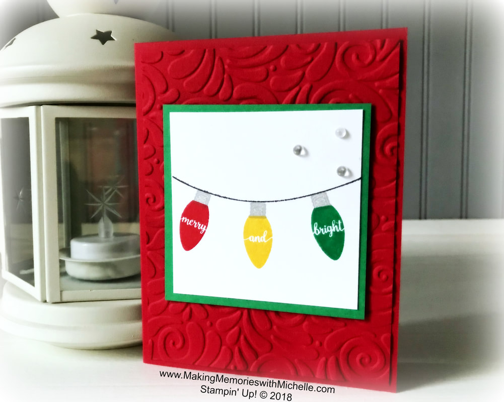 www.MakingMemorieswithMichelle.com  My Stamping Bee team swap card for October featured the Making Christmas Bright Stamp Set & Swirls & Curls embossing folder.  Stampin' Up! © 2018