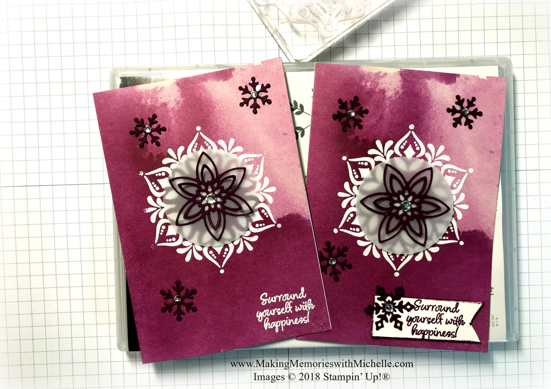 www.MakingMemorieswithMichelle.com The Happiness Surrounds Stamp Set is part of the Snowflake Showcase, available starting 11/1. Full Video tutorial available today on my blog. Images © 2018 Stampin' Up!®