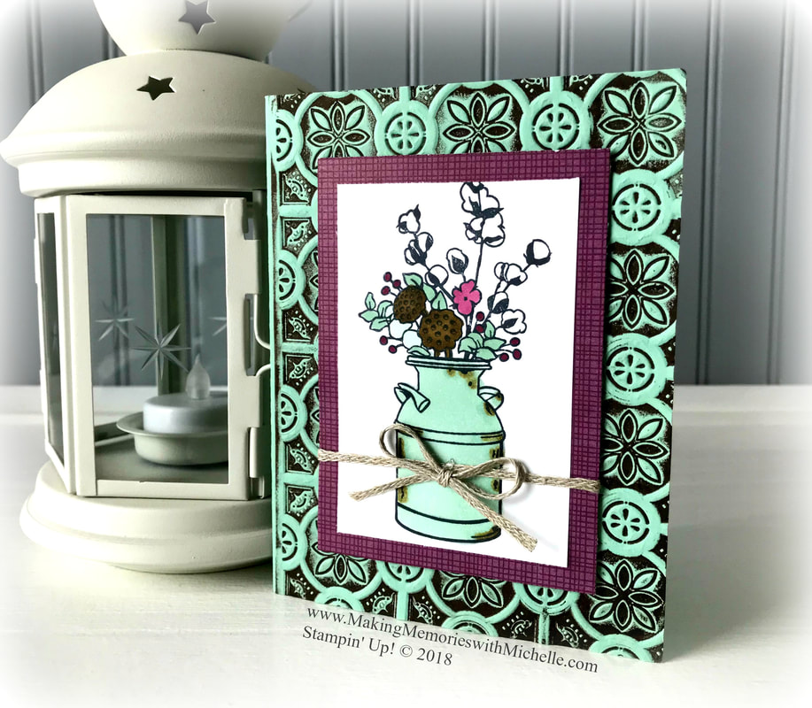 www.MakingMemorieswithMichelle.com The Tin Tile Textured Impressions Embossing Folder is part of the Country Lane Suite. Stampin' Up! © 2018