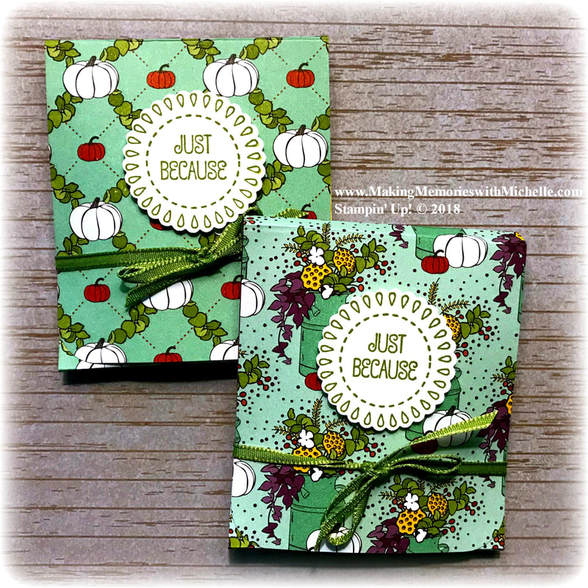www.MakingMemorieswithMichelle.com  Wow! Wednesday.  A full video + tutorial for making Ghiradelli Chocolate Treat Holders from the Country Lane Designer Series Paper can be found on today's blog post.  Stampin' Up! © 2018