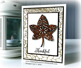 www.MakingMemorieswithMichelle.com Product of the Week: Falling For Leaves Bundle + Bright Copper Shimmer Paint. Stampin' Up! © 2018