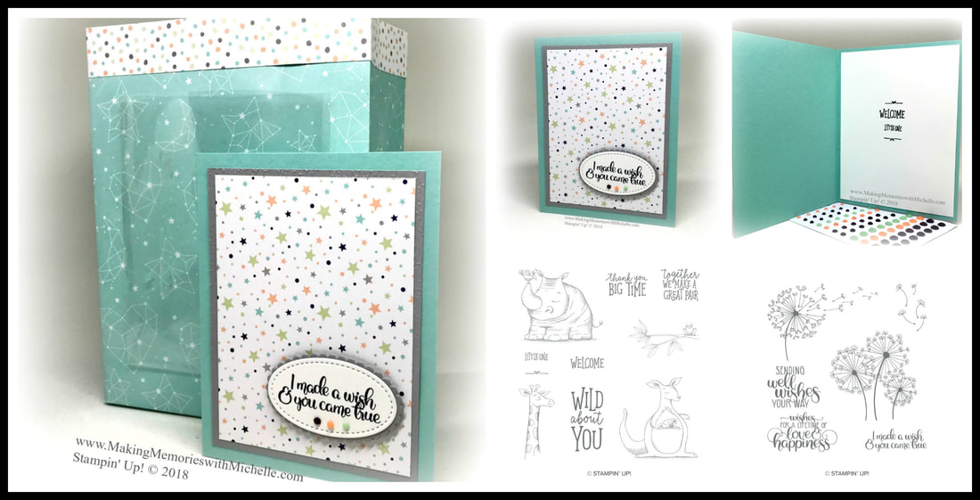 Today's Crafty Saturday Facebook Live featured a Card-in-a-Bag for a newborn baby boy. We used the Twinkle Twinkle Designer Series Paper, plus Animal Outings and Dandelion Wishes stamp sets. #Crafty aturday #CraftWhenYouWant www.MakingMemorieswithMichelle.com Stampin' Up! © 2018