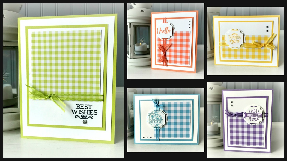 www.MakingMemorieswithMichelle.com Sweet & Simple Class.: Gingham Gala. Register by 1/ 9| Class 1/13 @ 2pm. To Go Option Available. Make 10 Cards; 2 each of 5 designs.