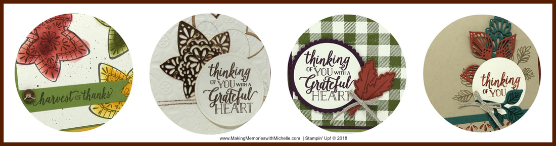 www.MakingMemorieswithMichelle.com ​Throughout September, when you place a $25 order or more with me, you'll receive a free Falling For Leaves 4-Card tutorial. Please use host code FEWRM9FD. Stampin' Up! © 2018