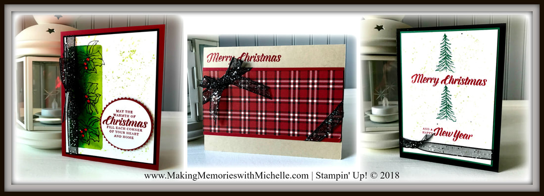 www.MakingMemorieswithMichelle.com October Christmas Card Club. Timeless Tidings. 12 cards, 3 each of 4 designs. Includes full pack of Red Rhinestones; full spool of Black Glittered Organdy Ribbon; Wink of Stella Glitter Pen; $35 in person, or $47.85
