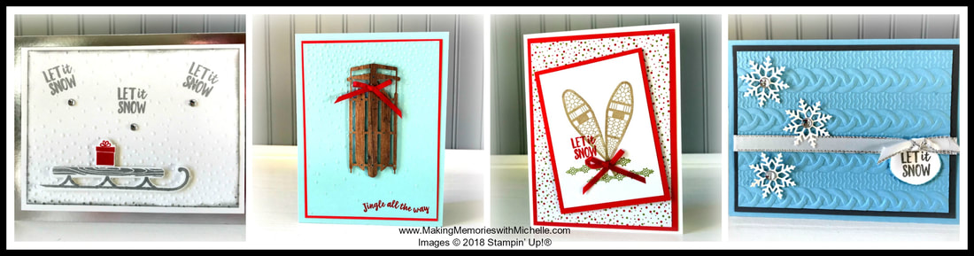 www.MakingMemorieswithMichelle.com December Christmas Card Club. Make 12 cards + 1 3D project with the Alpine Christmas Sweet. In Person or To Go Options. Register by 12/3. Michelle@MakingMemorieswithMichelle.com