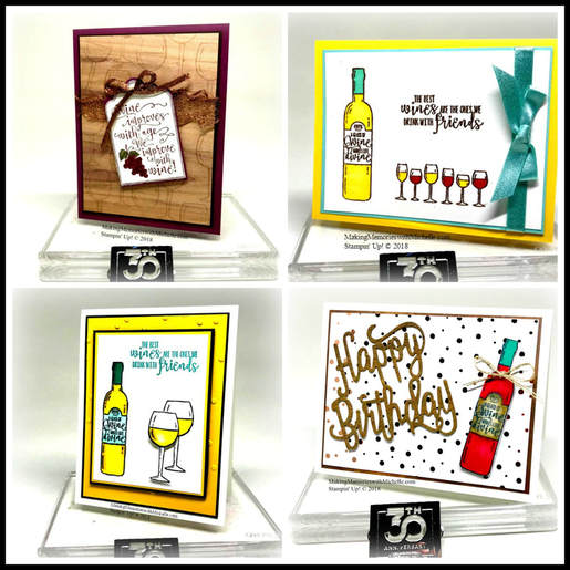 The best wines are the ones we drink with friends, from the Half Full stamp set. Making Memories with Michelle. Stampin' Up! © 2018