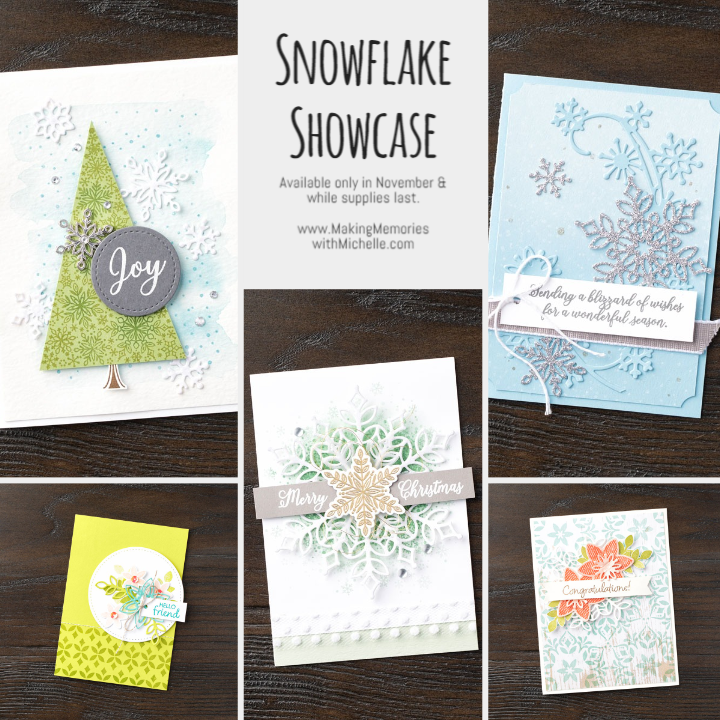 www.MakingMemorieswithMichelle.com. The Snowflake Showcase features 2 stamp sets, a set of 20 dies, lovely snowflake trinkets, and beautiful, soft, velvet paper. But don't wait...once it's gone, it's gone! Images © 2018 Stampin' Up!®