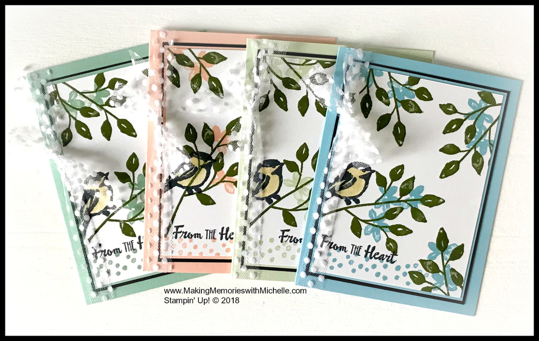 New Subtles colors, from left to right: Mint Macaron, Petal Pink, Soft Seafoam, & Balmy Blue. www.MakingMemorieswithMichelle.com Stampin' Up! © 2018