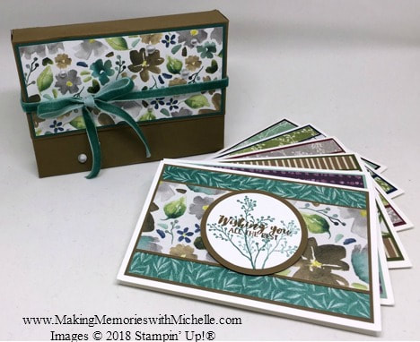 www.MakingMemorieswithMichelle.com Become a Making Memories VIP. As a special November thank you, receive a FREE Frosted Floral Notecard Tutorial with all purchases over $25. There's a total of 6 notecards plus this handy notecard holder. I know you're going to love it! Please use host code Q3PYRZY7 before you check out. ​​Images © 2018 Stampin' Up!®