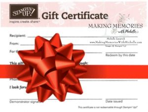 Making Memories with Michelle Gift Certificate